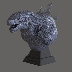 3D godzilla bust
