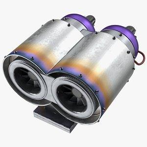 3D Jet Double Engine model