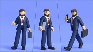 Minimal Business Man Cartoon Character 3D model