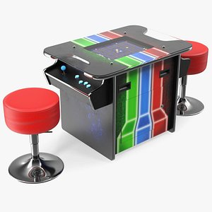 3D Cocktail Table Arcade Machine with Stools