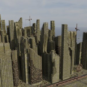 3D Post Apocalyptic Ruined City