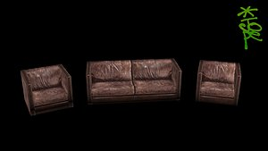 3D OLD-SCHOOL LOW-POLY SOFA AND ARMCHAIRS model