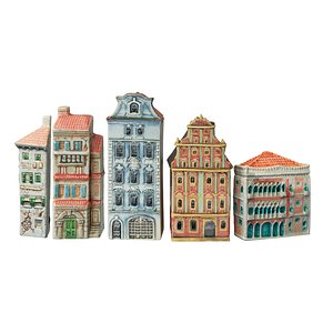 Decorative set of houses on the shelf 3D model