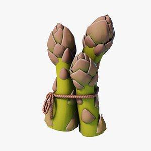 Cartoon Asparagus 3D model
