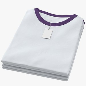 Female Crew Neck Folded Stacked With Tag White and Purple 01 3D model
