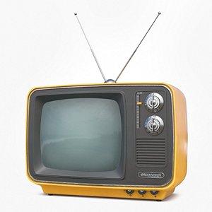 3D Vintage low poly TV model