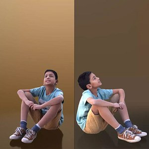 3D boy ground sitting