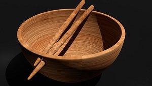 bowl stick wooden 3D model