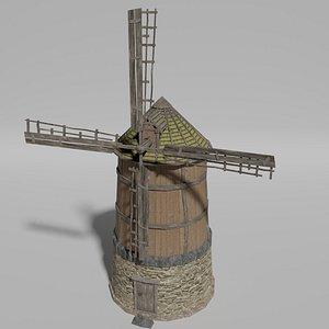 wind windmill medieval 3D