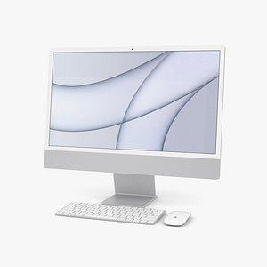 3D Apple iMac 24-inch 2021 Silver