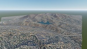 3D model mountain valley east los angeles