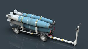 3D USN MHU-191 Bombs Cart with GBU-38 Laser JDAM bombs model