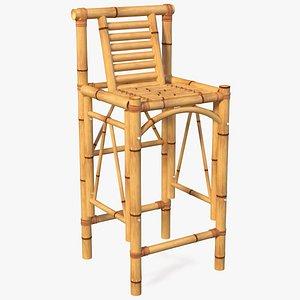 3D Bamboo Bar Stool Square model