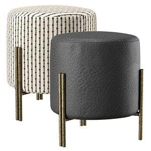 Melange foot stool by Kelly Wearstler 3D model