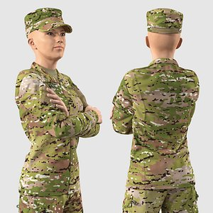 3D Female US Soldier Camouflage Rigged for Maya