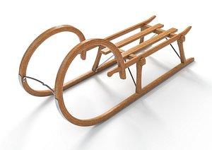 3D Vintage Wooden Sled