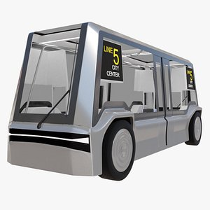 3D self-driving sci-fi bus pbr