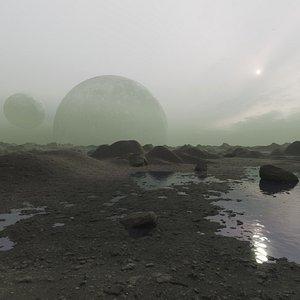 3D alien planet environment