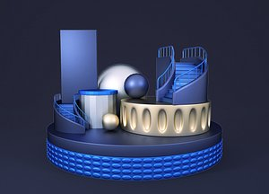 Science and technology cartoon staircase C4D e-commerce geometric decorative elements advertising po 3D model