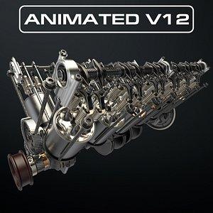 V12 Engine Working Animated model