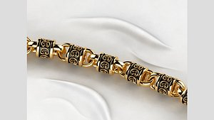 Rhodium Plating Gold Chain 3D model