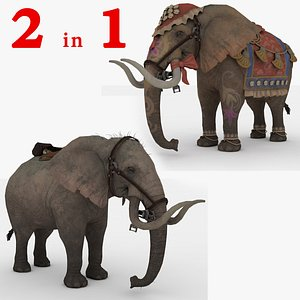 2 in 1 Elephant Rigged and Animated