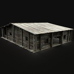 medieval sawmill warehouse model
