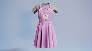 3D Woman outfits Overalls bear v5