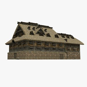 3D A large ancient gathering place of thatched huts