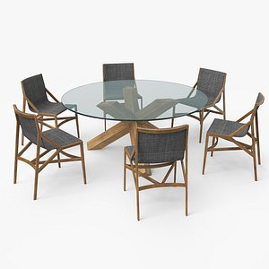 3D model cassina dining table set