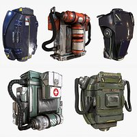 Sci-fi Backpack Canister Case Military Medical Bag - Collection Kitbash with Zbrush files