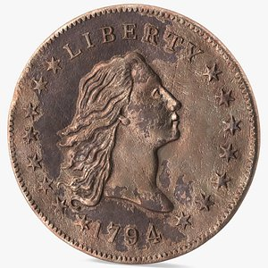 3D model Flowing Hair Silver Dollar Coin 1794