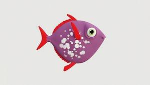 Cartoon purple fish 3D model