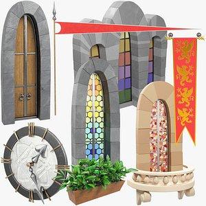 3D stylized medieval building parts model