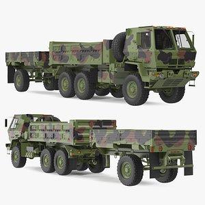 3D Oshkosh FMTV Dump Truck with Cargo Trailer Camo model