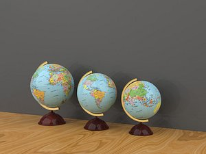 3D Globes teach globes in various sizes model