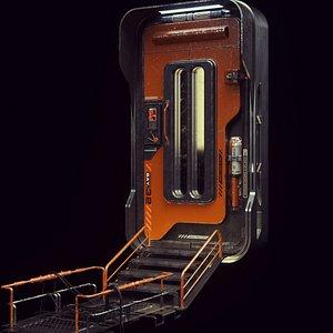 space colony door modeled 3D model