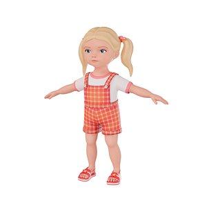 3D cartoon girl child model