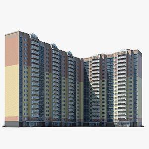 realistic corner city building 3D
