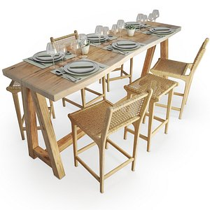 Wood And Rope Table And Stools Set AtelierS 3D