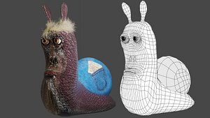 3D snail character cartoon