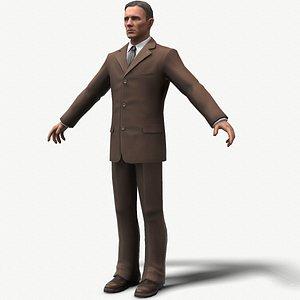 lowpoly man in suit 3D