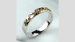 3D Colored Gems Rhodium Plating Gold Ring model