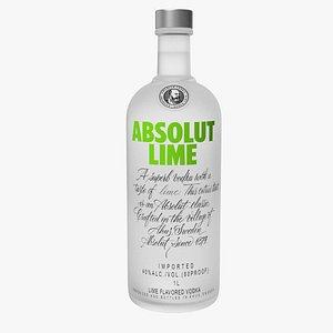 3D absolut lime flavoured vodka model