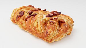 3D Bun, roll or pasty with pecan nuts and maple syrup