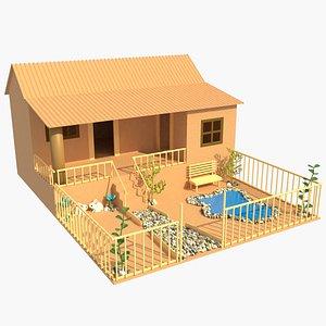 3D house cardboard