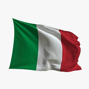 3D Realistic Animated Flag - Microtexture Rigged - Put your own texture - Def Italy model
