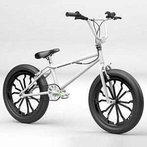 3D White BMX Bike model