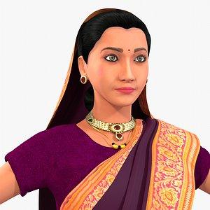 3D character woman dressing