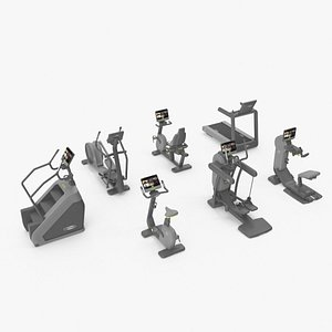 Gray Excite Live group by Technogym 7 pack 3D model